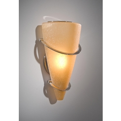 Holtkoetter Modern Sconce Wall Light with Beige / Cream Glass in Polished Nickel Finish