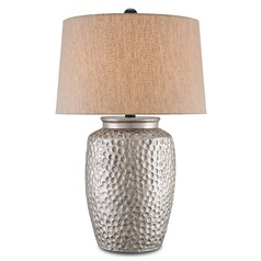 Currey and Company Dwyer Antique Silver Table Lamp with Empire Shade