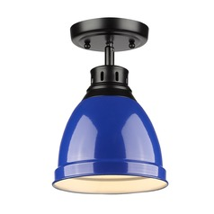 Golden Lighting Duncan Black Semi-Flushmount Light with Blue Shade