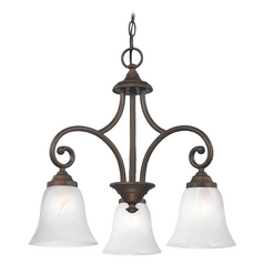 Mini-Chandelier with Alabaster Glass in Neuvelle Bronze Finish