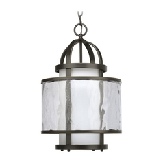 Progress Bronze Modern Drum Pendant Light with Clear Glass