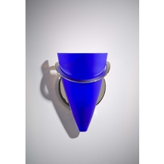 Holtkoetter Modern Sconce Wall Light with Blue Glass in Polished Nickel Finish