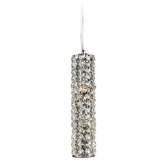 Plc Lighting Piattini Polished Chrome Mini-Pendant Light with Cylindrical Shade
