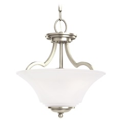 Sea Gull Lighting Somerton Antique Brushed Nickel LED Pendant Light with Bowl / Dome Shade