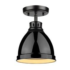 Golden Lighting Duncan Black Semi-Flushmount Light with Gloss Black Shade