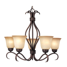 Maxim Lighting Modern Chandelier with Beige / Cream Glass in Oil Rubbed Bronze Finish 85125WSOI