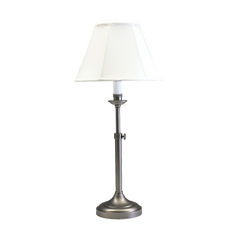 Table Lamp with White Shade in Antique Silver Finish
