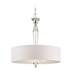 Drum Pendant Light with White Shade in Chrome Finish