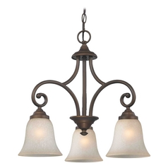 Mini-Chandelier with Brown Glass in Neuvelle Bronze Finish