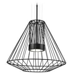 Modern Black LED Outdoor Hanging Light with Clear Shade 3000K 1875LM