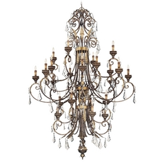 Crystal Chandelier in Windsor Rust / Bronze Accents Finish