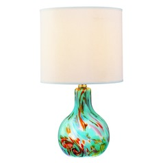 Lite Source Lighting Pepita Aqua Table Lamp with Drum Shade