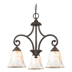 Mini-Chandelier with Beige / Cream Glass in Bronze Finish