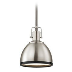 Nautical Metal Pendant Light Satin Nickel and Black 7.38-Inch Wide