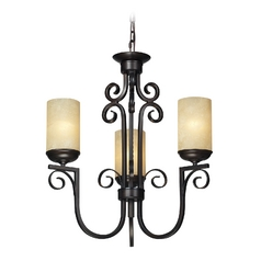 LED Chandelier with Amber Glass in Aged Bronze Finish