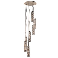 PLC Lighting Piattini Polished Chrome Pendant Light with Cylindrical Shade