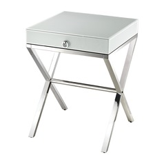 White Glass Side Table