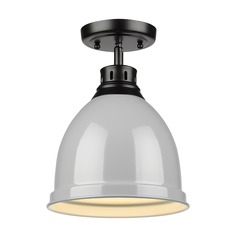 Golden Lighting Duncan Black Semi-Flushmount Light with Grey Shade