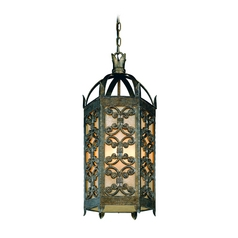 Troy Lighting Outdoor Hanging Light with Amber Glass in Charred Gold Finish FF9908CG