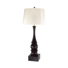 Modern Table Lamp with White Paper Shade in Black Gloss Finish