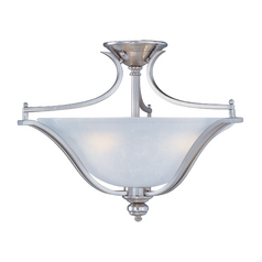 Maxim Lighting International Semi-Flushmount Light with White Glass in Satin Silver Finish 10171ICSS