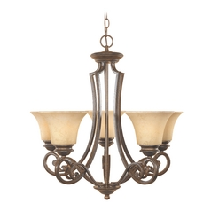Chandelier with Amber Glass in Forged Sienna Finish