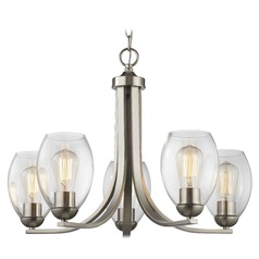 Satin Nickel Chandelier with Clear Oblong Glass and 5-Lights