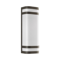 Progress Modern Outdoor Wall Light with White in Antique Bronze Finish