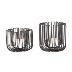 Uttermost Flare Black Wire Candleholders Set of 2