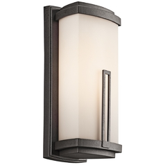 Kichler Outdoor Wall Light with White Glass in Anvil Iron Finish