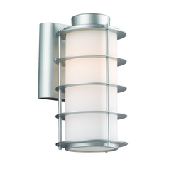 Modern Outdoor Wall Light with White Glass in Vista Silver Finish