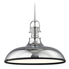 Industrial Large Pendant Light Chrome with Black 18.38-Inch Wide