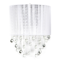 Avenue Lighting Beverly Drive Crystal Sconce with White Silk Shade