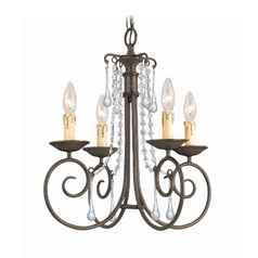 Crystal Mini-Chandelier in Dark Rust Finish