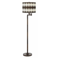 Harlequin Shade Remington Bronze Swing Arm Floor Lamp