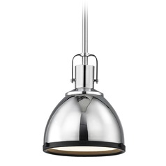 Nautical Mini-Pendant Chrome with Black Trim 7.38-Inch Wide