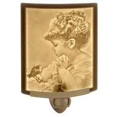 Porcelain Garden Lighting Child and Songbird Night Light NR-71