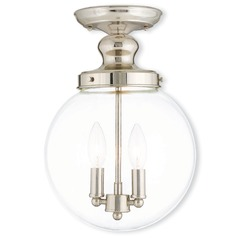 Livex Lighting Sheffield Polished Nickel Semi-Flushmount Light