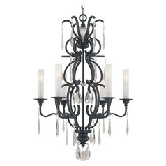 Crystal Chandelier with White Glass in Castellina Aged Iron Finish
