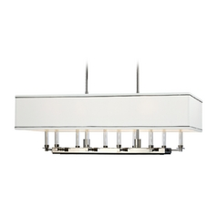 Modern Island Light with White Shades in Polished Nickel Finish