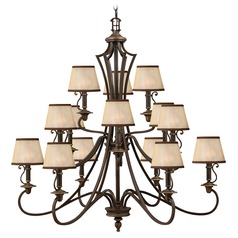 Chandelier with Amber Shades in Olde Bronze Finish