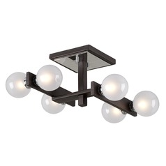 Mid-Century Modern Flushmount Light Bronze / Chrome Network by Troy Lighting
