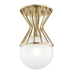 Mitzi Petra Aged Brass Semi-Flushmount Light