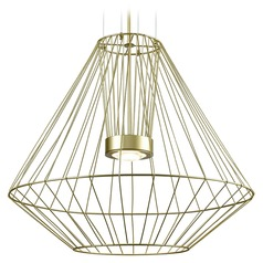 Modern Gold LED Outdoor Hanging Light with Clear Shade 3000K 1875LM
