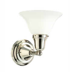 Bathroom Light with White Glass in Satin Nickel Finish