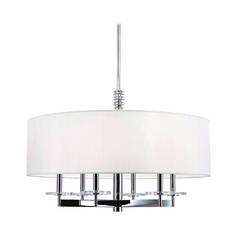 Modern Chandelier with White Shade in Polished Nickel Finish