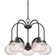 Industrial Edison Bulb Chandelier Bronze 26-Inch by Quoizel Lighting