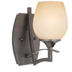 Sconce Wall Light with Brown Glass in Iron Finish