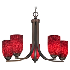 Bronze Chandelier with Red Dome Art Glass Shades
