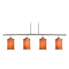 Modern Linear Pendant Light with 4-Lights and Art Glass in Satin Nickel Finish